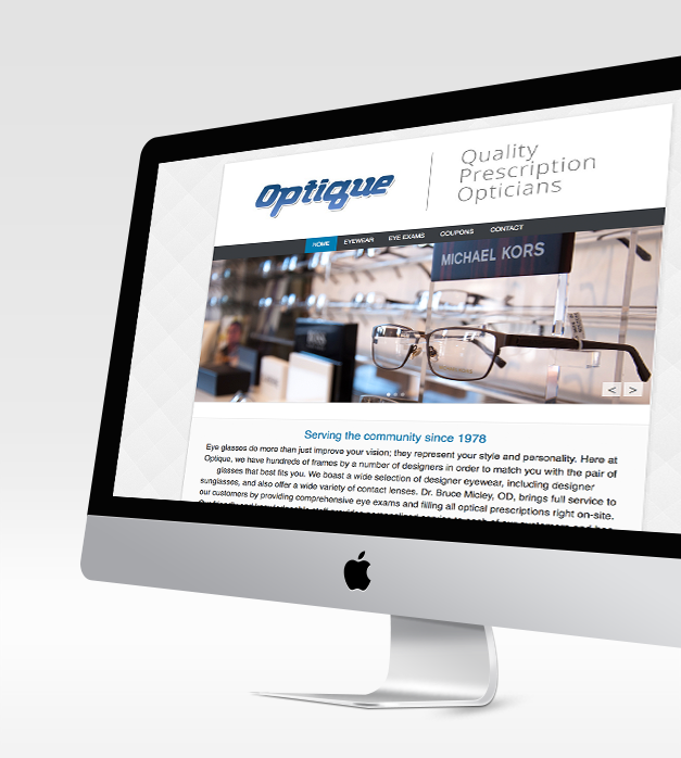 Optique Web Design, Homepage imac View