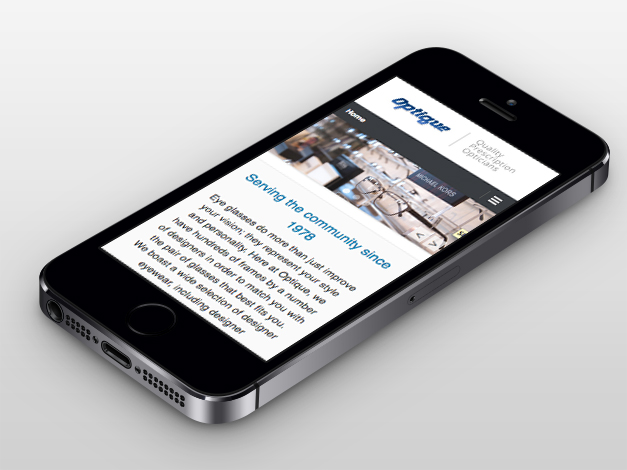 Optique Web Design, Homepage iphone View