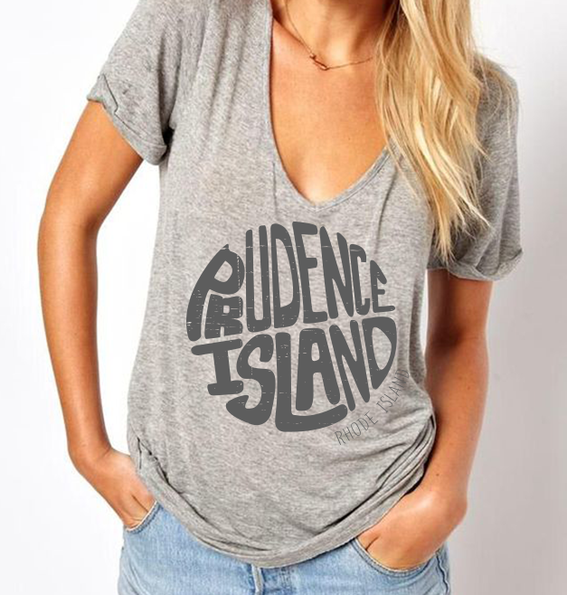 Prudence Island Typography T-shirt Design